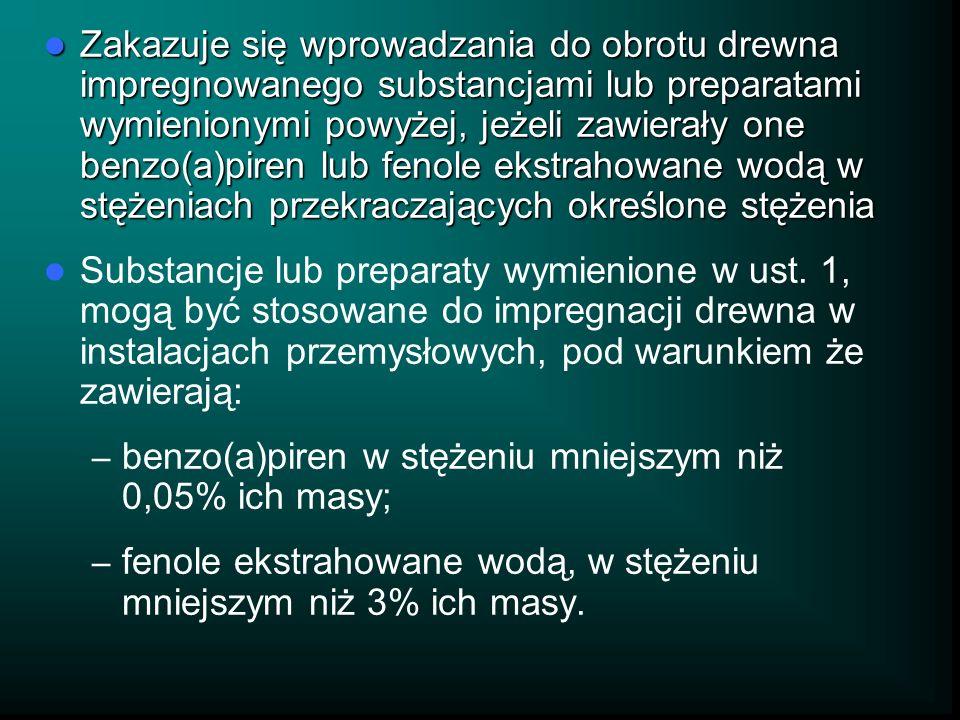 Zakazuje się wprowadzania do obrotu drewna impregnowanego substancjami lub preparatami wymienionymi powyżej, jeżeli zawierały one benzo(a)piren lub fe