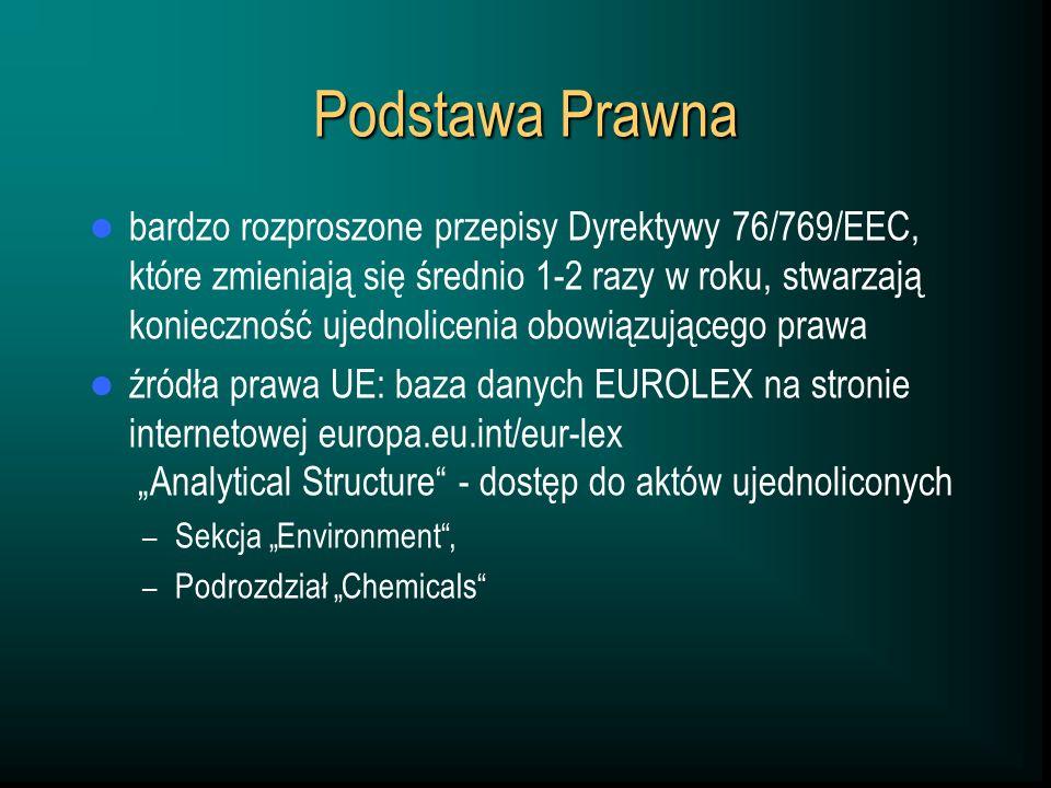 Podstawa Prawna bardzo rozproszone przepisy Dyrektywy 76/769/EEC, które zmieniają się średnio 1-2 razy w roku, stwarzają konieczność ujednolicenia obowiązującego prawa źródła prawa UE: baza danych EUROLEX na stronie internetowej europa.eu.int/eur-lex Analytical Structure - dostęp do aktów ujednoliconych – Sekcja Environment, – Podrozdział Chemicals