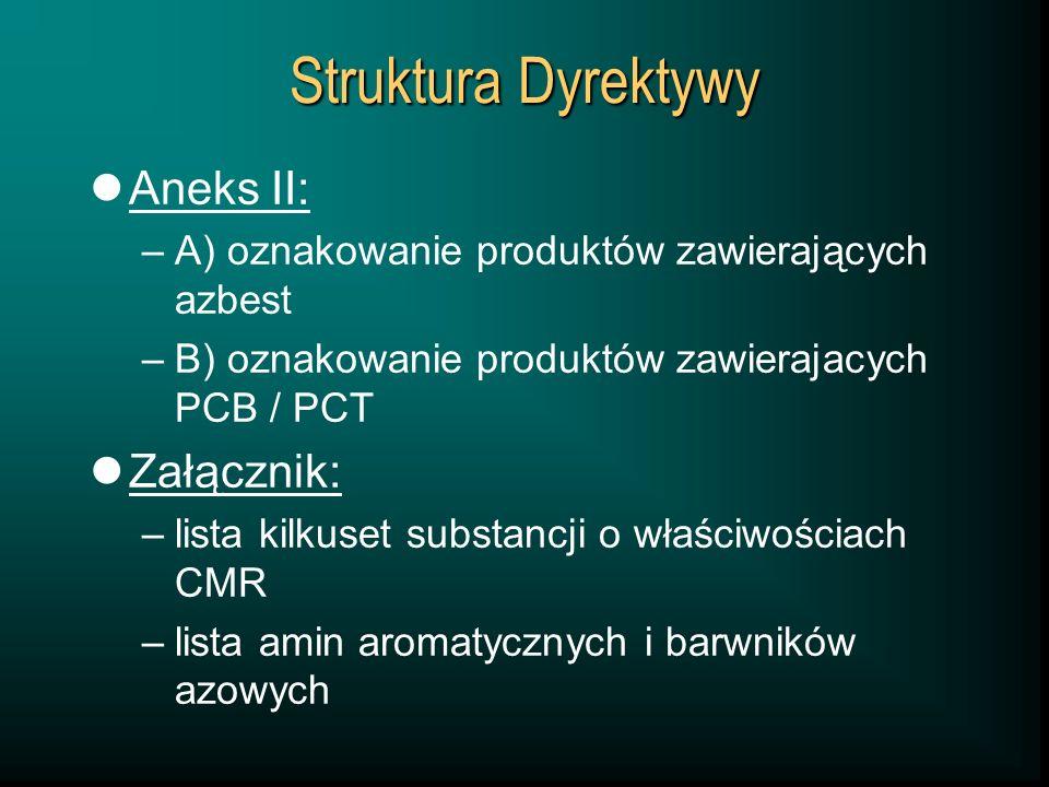 Struktura Dyrektywy Aneks II: –A) oznakowanie produktów zawierających azbest –B) oznakowanie produktów zawierajacych PCB / PCT Załącznik: –lista kilku