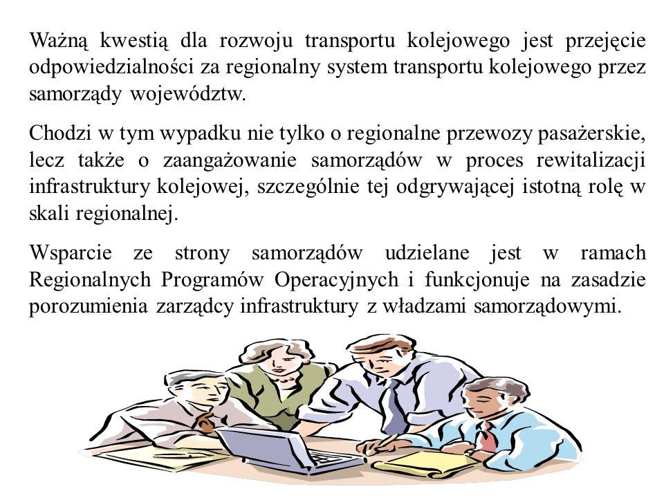 Ważną kwestią dla rozwoju transportu kolejowego jest przejęcie odpowiedzialności za regionalny system transportu kolejowego przez samorządy województw
