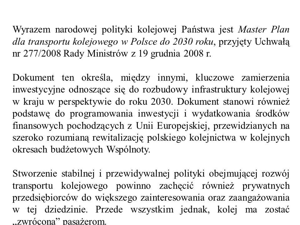 Master Plan oczywiście nie jest uniwersalnym remedium na wszystkie problemy nękające polski transport kolejowy, które są w dużej mierze efektem wieloletniego niedoinwestowania, ale zawiera pewne propozycje przezwyciężenia tych niekorzystnych zjawisk.