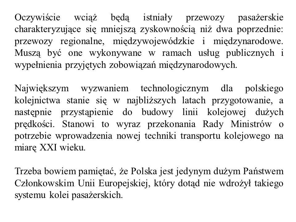 Generalnie, rola transportu kolejowego jest Master Plan postrzegana następująco: 1) Wzmocnienie międzynarodowych powiązań transportowych kraju, w tym powiązań ułatwiających prowadzenie wymiany handlowej i zmierzających do wzrostu konkurencyjności Polski.