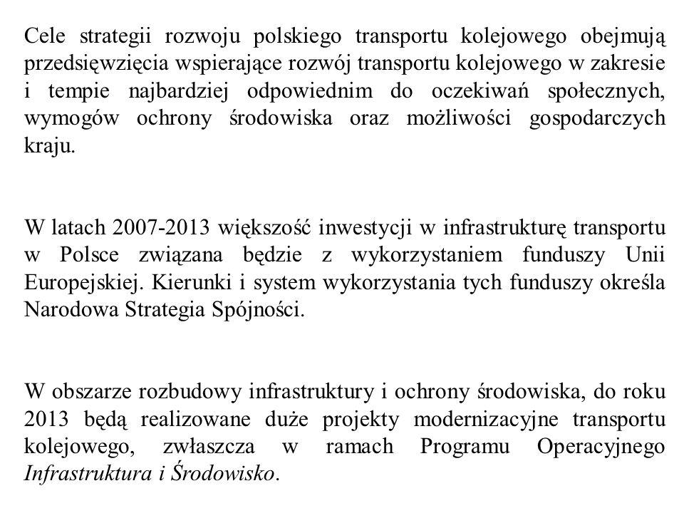 Cele strategii rozwoju polskiego transportu kolejowego obejmują przedsięwzięcia wspierające rozwój transportu kolejowego w zakresie i tempie najbardzi