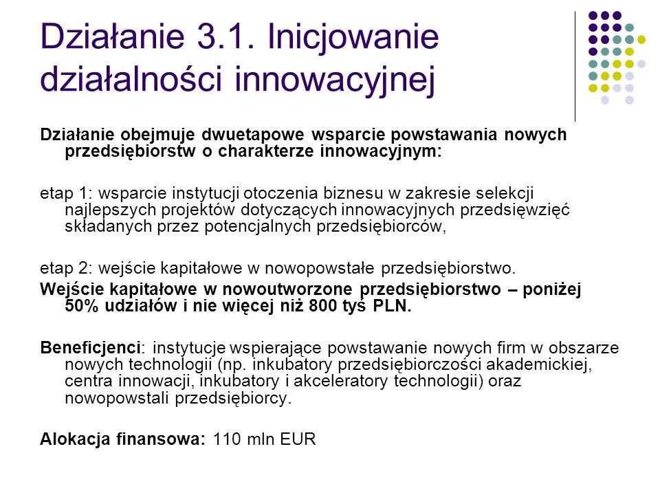 Działanie 3.1. Inicjowanie działalności innowacyjnej Działanie obejmuje dwuetapowe wsparcie powstawania nowych przedsiębiorstw o charakterze innowacyj