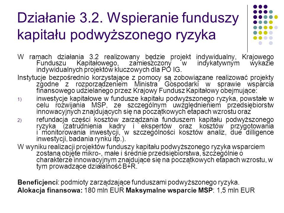 Działanie 3.2. Wspieranie funduszy kapitału podwyższonego ryzyka W ramach działania 3.2 realizowany będzie projekt indywidualny, Krajowego Funduszu Ka