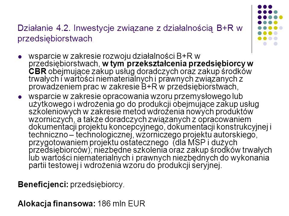 Działanie 4.2. Inwestycje związane z działalnością B+R w przedsiębiorstwach wsparcie w zakresie rozwoju działalności B+R w przedsiębiorstwach, w tym p