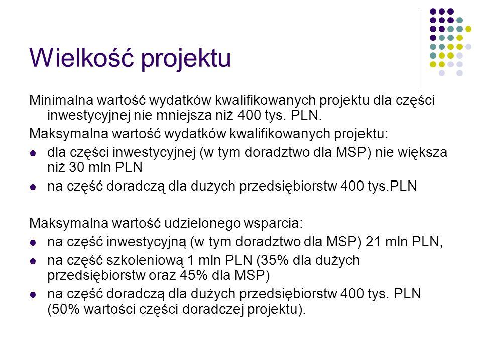 Wielkość projektu Minimalna wartość wydatków kwalifikowanych projektu dla części inwestycyjnej nie mniejsza niż 400 tys. PLN. Maksymalna wartość wydat