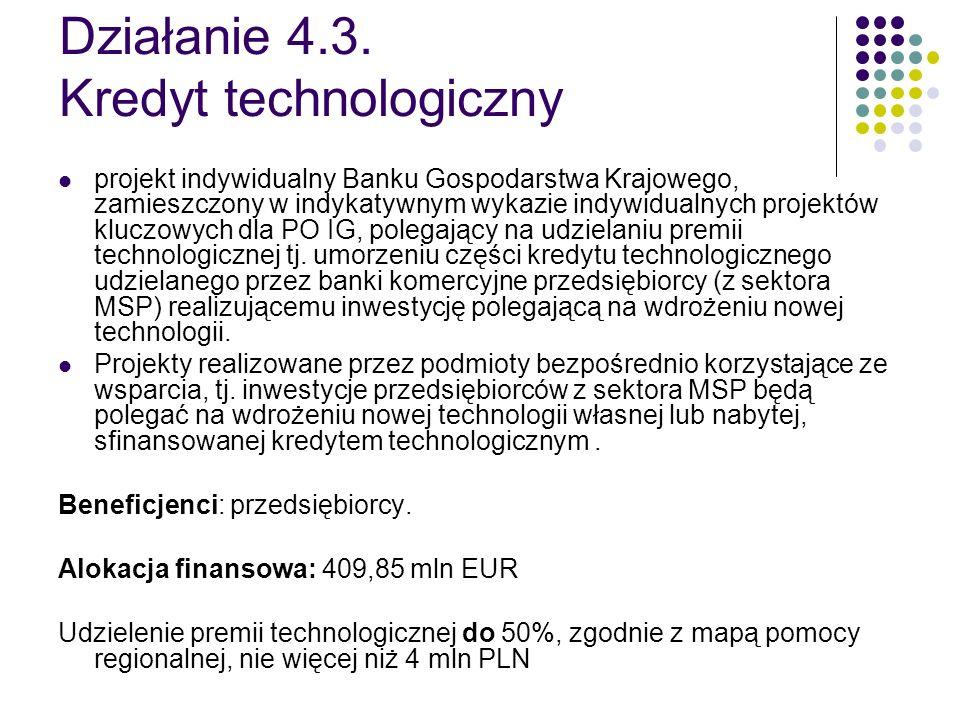 Działanie 4.3. Kredyt technologiczny projekt indywidualny Banku Gospodarstwa Krajowego, zamieszczony w indykatywnym wykazie indywidualnych projektów k