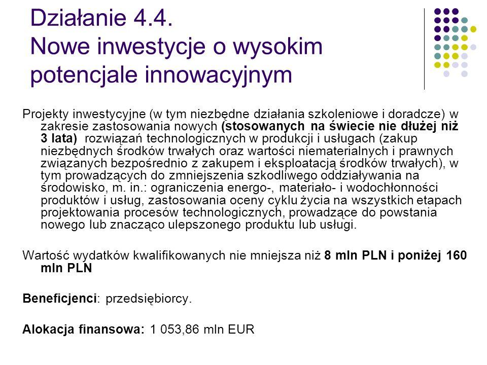 Działanie 4.4. Nowe inwestycje o wysokim potencjale innowacyjnym Projekty inwestycyjne (w tym niezbędne działania szkoleniowe i doradcze) w zakresie z
