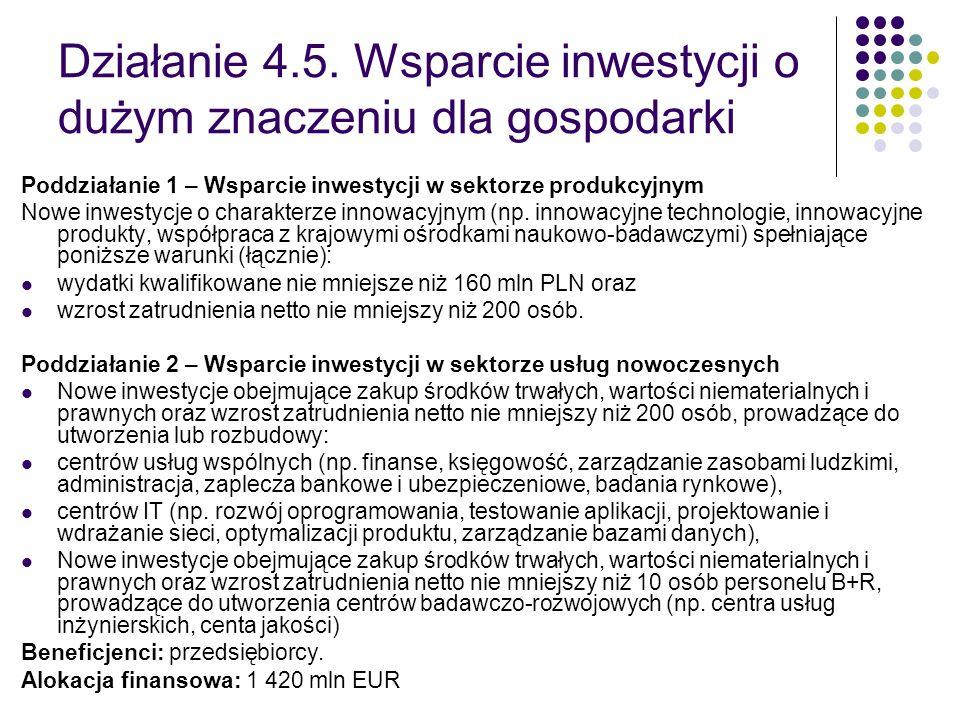 Działanie 4.5. Wsparcie inwestycji o dużym znaczeniu dla gospodarki Poddziałanie 1 – Wsparcie inwestycji w sektorze produkcyjnym Nowe inwestycje o cha