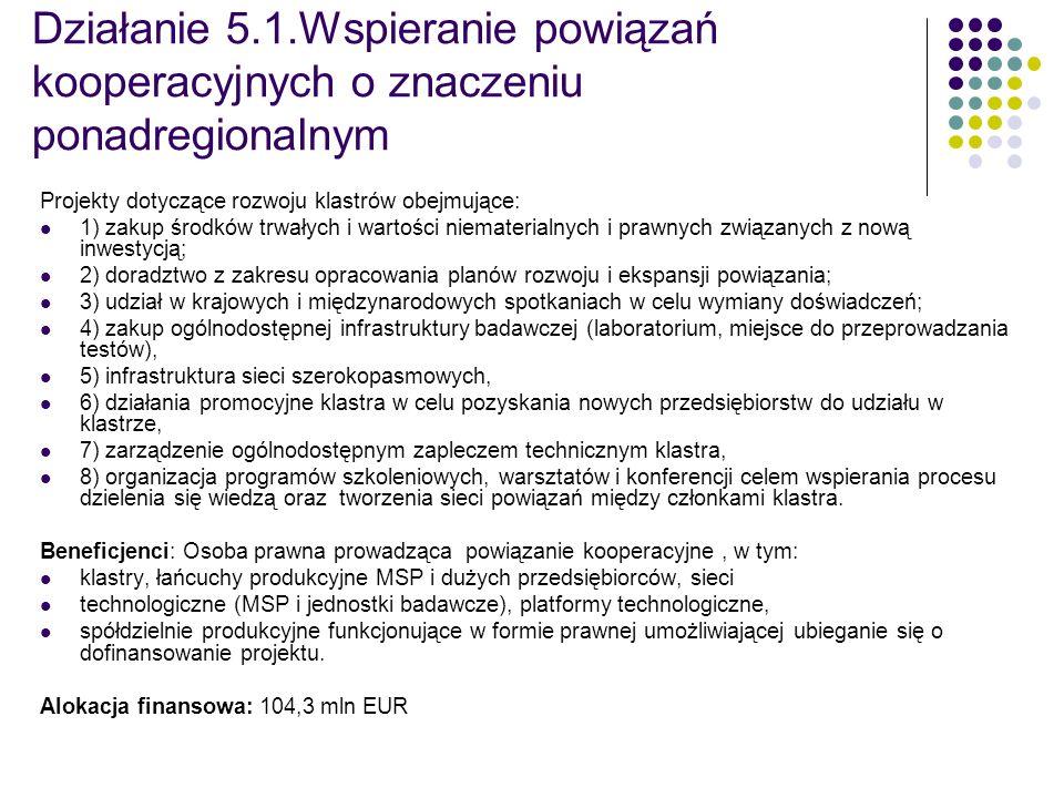 Działanie 5.1.Wspieranie powiązań kooperacyjnych o znaczeniu ponadregionalnym Projekty dotyczące rozwoju klastrów obejmujące: 1) zakup środków trwałyc