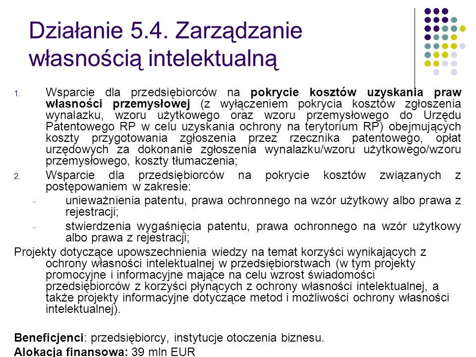 Działanie 5.4. Zarządzanie własnością intelektualną 1. Wsparcie dla przedsiębiorców na pokrycie kosztów uzyskania praw własności przemysłowej (z wyłąc