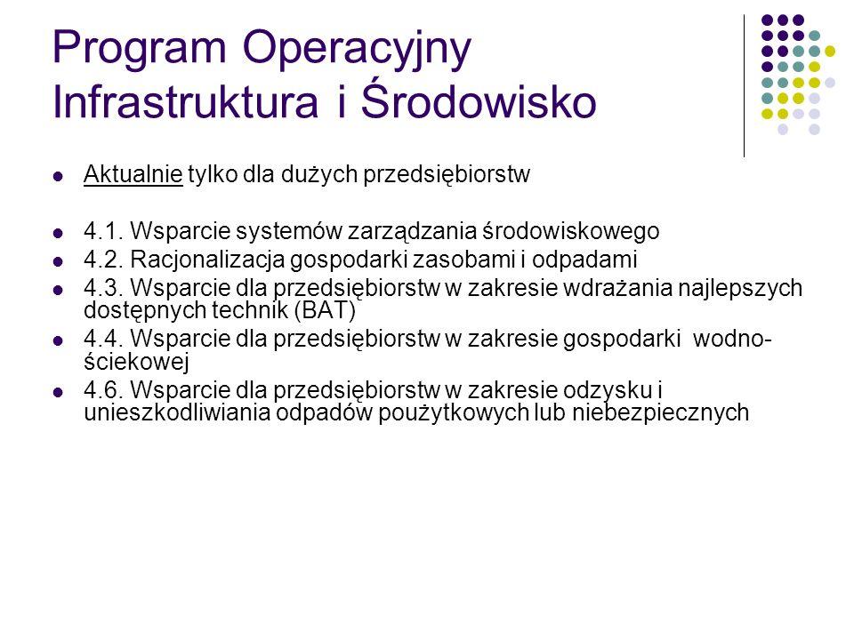 Program Operacyjny Infrastruktura i Środowisko Aktualnie tylko dla dużych przedsiębiorstw 4.1. Wsparcie systemów zarządzania środowiskowego 4.2. Racjo