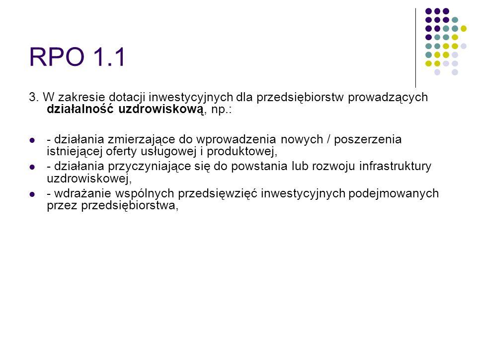 RPO 1.1 3. W zakresie dotacji inwestycyjnych dla przedsiębiorstw prowadzących działalność uzdrowiskową, np.: - działania zmierzające do wprowadzenia n