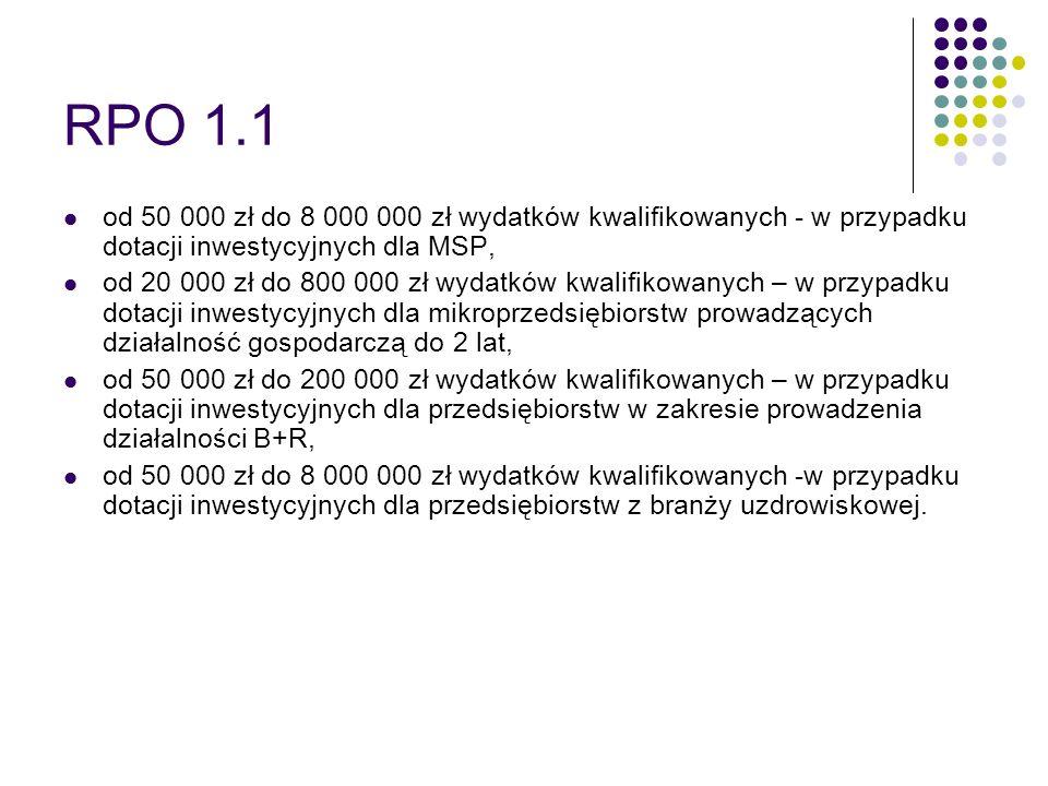 RPO 1.1 od 50 000 zł do 8 000 000 zł wydatków kwalifikowanych - w przypadku dotacji inwestycyjnych dla MSP, od 20 000 zł do 800 000 zł wydatków kwalif