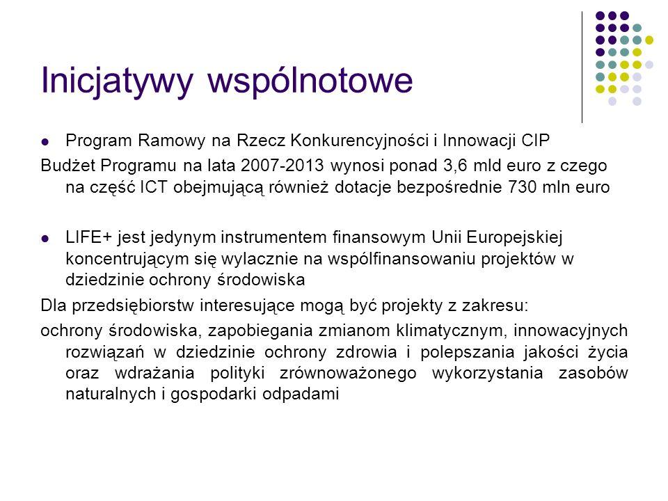 Inicjatywy wspólnotowe Program Ramowy na Rzecz Konkurencyjności i Innowacji CIP Budżet Programu na lata 2007-2013 wynosi ponad 3,6 mld euro z czego na