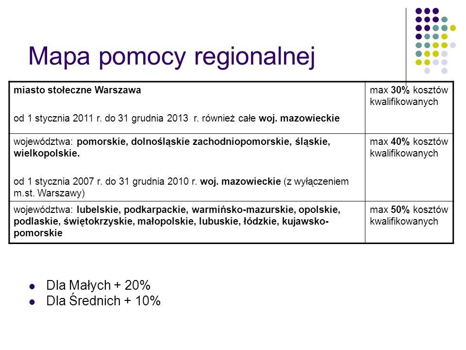 Mapa pomocy regionalnej miasto stołeczne Warszawa od 1 stycznia 2011 r. do 31 grudnia 2013 r. również całe woj. mazowieckie max 30% kosztów kwalifikow