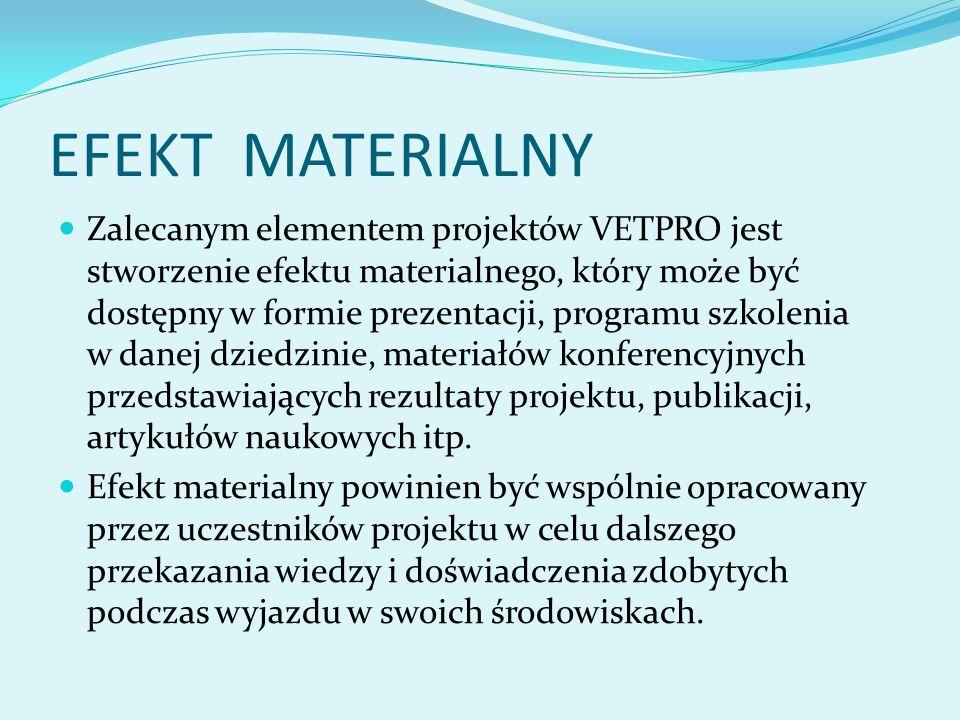 EFEKT MATERIALNY Zalecanym elementem projektów VETPRO jest stworzenie efektu materialnego, który może być dostępny w formie prezentacji, programu szkolenia w danej dziedzinie, materiałów konferencyjnych przedstawiających rezultaty projektu, publikacji, artykułów naukowych itp.