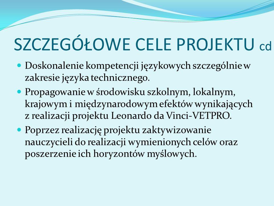 SZCZEGÓŁOWE CELE PROJEKTU cd Doskonalenie kompetencji językowych szczególnie w zakresie języka technicznego.