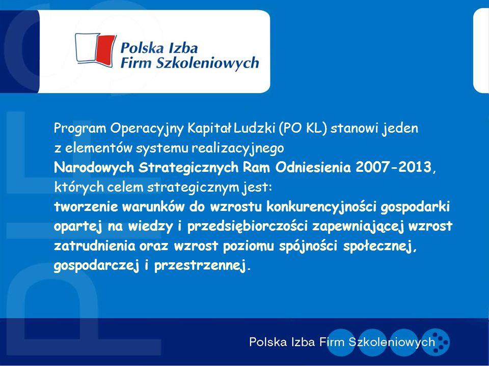 Program Operacyjny Kapitał Ludzki (PO KL) stanowi jeden z elementów systemu realizacyjnego Narodowych Strategicznych Ram Odniesienia 2007-2013, których celem strategicznym jest: tworzenie warunków do wzrostu konkurencyjności gospodarki opartej na wiedzy i przedsiębiorczości zapewniającej wzrost zatrudnienia oraz wzrost poziomu spójności społecznej, gospodarczej i przestrzennej.