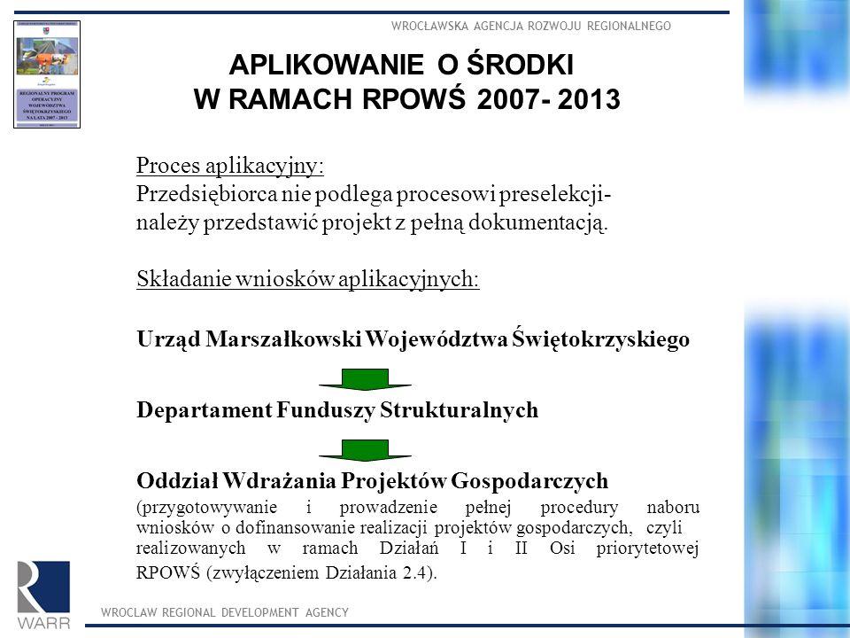 WROCŁAWSKA AGENCJA ROZWOJU REGIONALNEGO WROCLAW REGIONAL DEVELOPMENT AGENCY APLIKOWANIE O ŚRODKI W RAMACH RPOWŚ 2007- 2013 Proces aplikacyjny: Przedsiębiorca nie podlega procesowi preselekcji- należy przedstawić projekt z pełną dokumentacją.