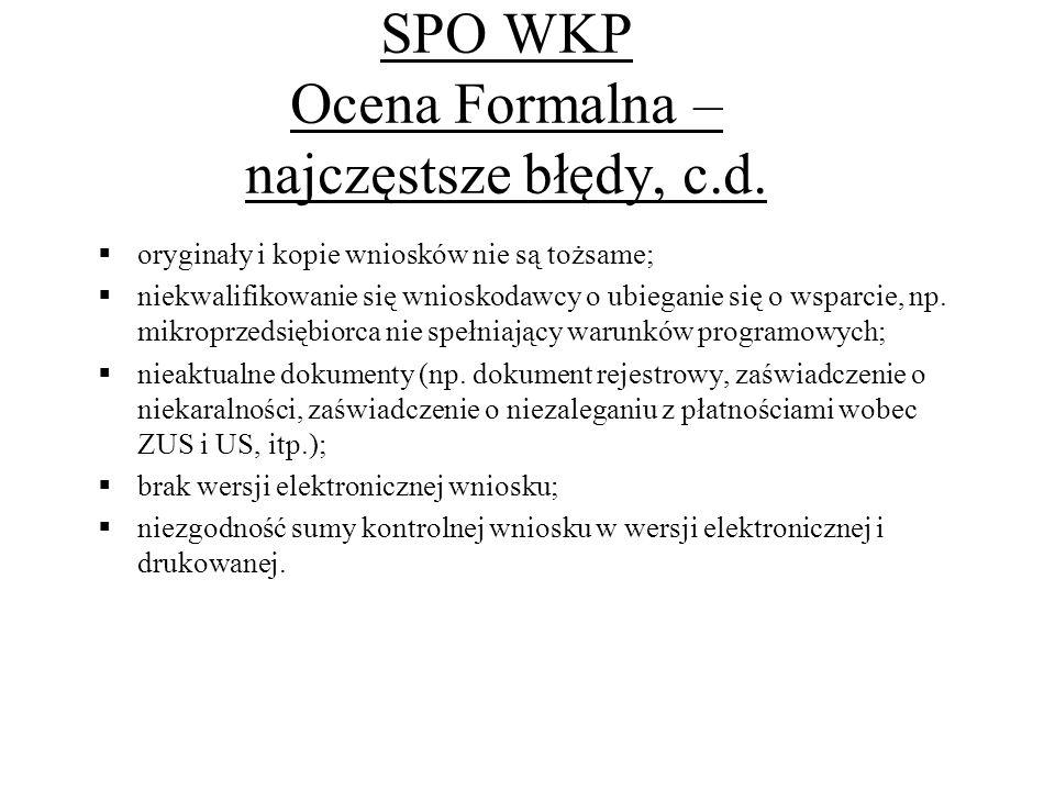 SPO WKP Ocena Formalna – najczęstsze błędy, c.d.