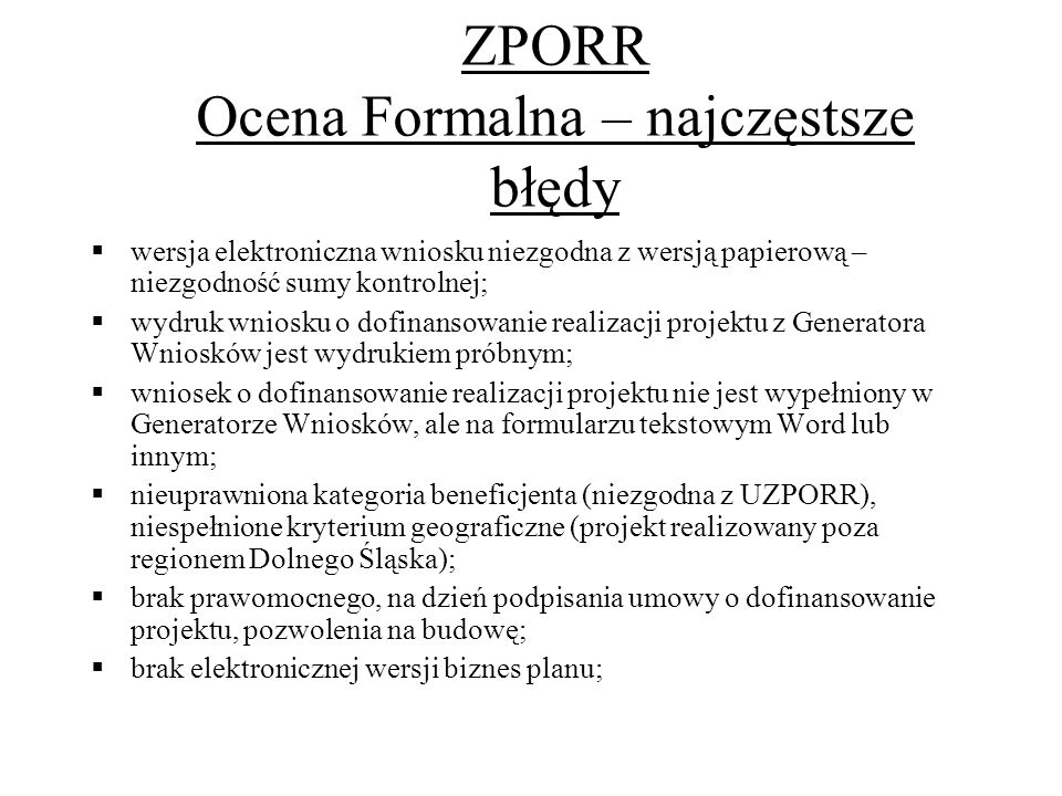 SPO RZL Ocena Formalna – najczęstsze błędy, c.d.