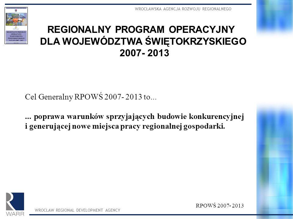 WROCŁAWSKA AGENCJA ROZWOJU REGIONALNEGO WROCLAW REGIONAL DEVELOPMENT AGENCY REGIONALNY PROGRAM OPERACYJNY DLA WOJEWÓDZTWA ŚWIĘTOKRZYSKIEGO 2007- 2013 Cel Generalny RPOWŚ 2007- 2013 to......
