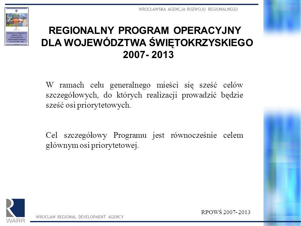WROCŁAWSKA AGENCJA ROZWOJU REGIONALNEGO WROCLAW REGIONAL DEVELOPMENT AGENCY REGIONALNY PROGRAM OPERACYJNY DLA WOJEWÓDZTWA ŚWIĘTOKRZYSKIEGO 2007- 2013 W ramach celu generalnego mieści się sześć celów szczegółowych, do których realizacji prowadzić będzie sześć osi priorytetowych.