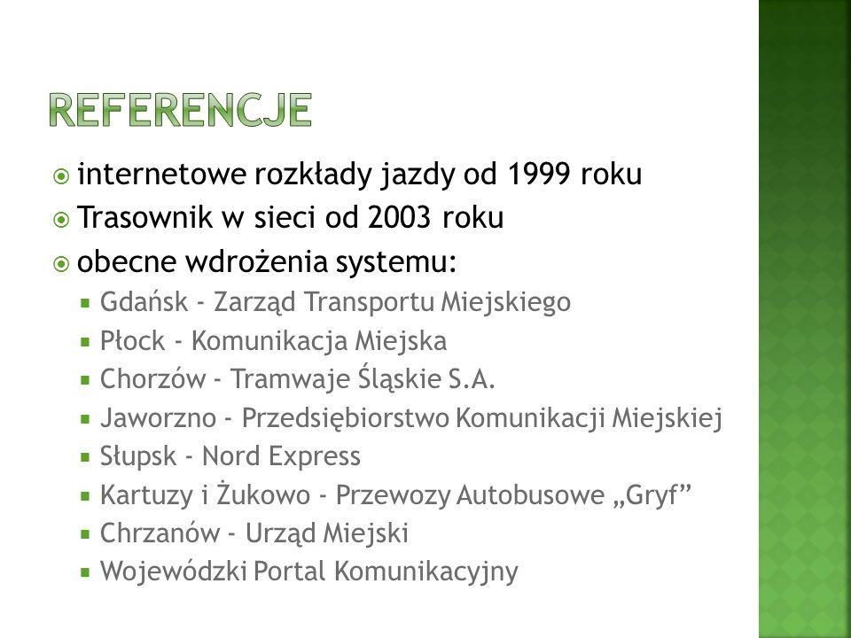 internetowe rozkłady jazdy od 1999 roku Trasownik w sieci od 2003 roku obecne wdrożenia systemu: Gdańsk - Zarząd Transportu Miejskiego Płock - Komunikacja Miejska Chorzów - Tramwaje Śląskie S.A.