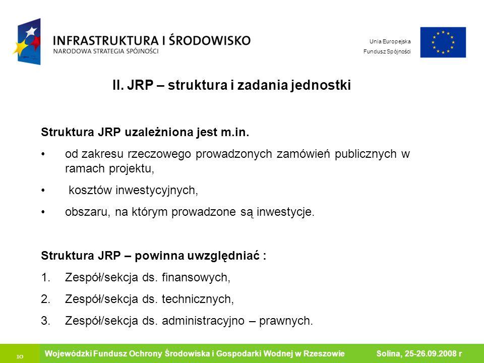 10 Ministerstwo Środowiska Wojewódzki Fundusz Ochrony Środowiska i Gospodarki Wodnej w Rzeszowie Solina, 25-26.09.2008 r Unia Europejska Fundusz Spójn