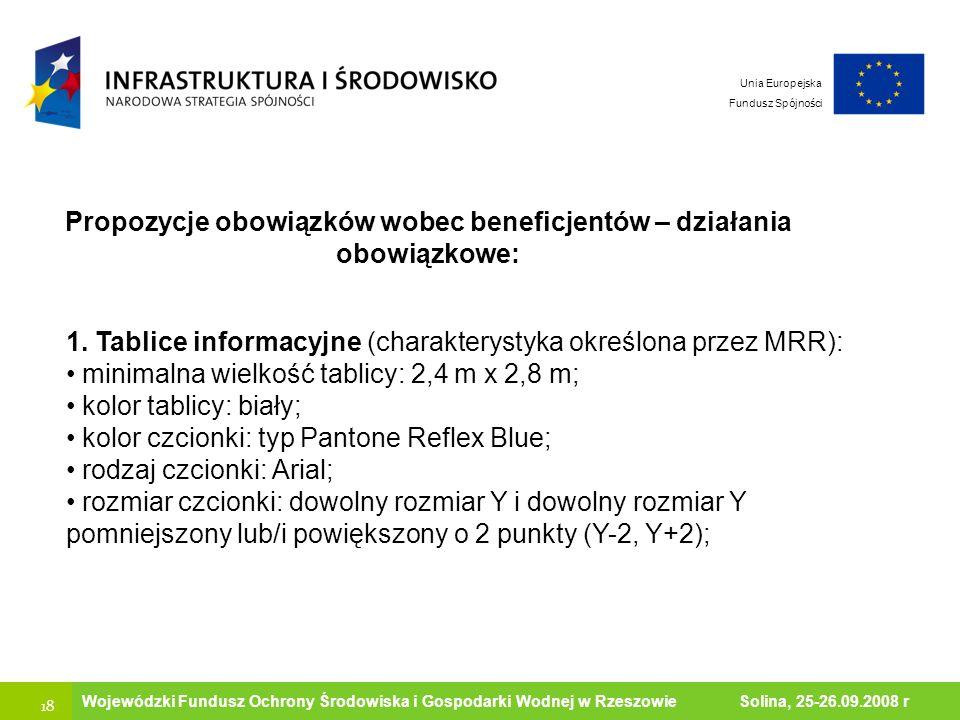 18 Ministerstwo Środowiska Wojewódzki Fundusz Ochrony Środowiska i Gospodarki Wodnej w Rzeszowie Solina, 25-26.09.2008 r Propozycje obowiązków wobec b