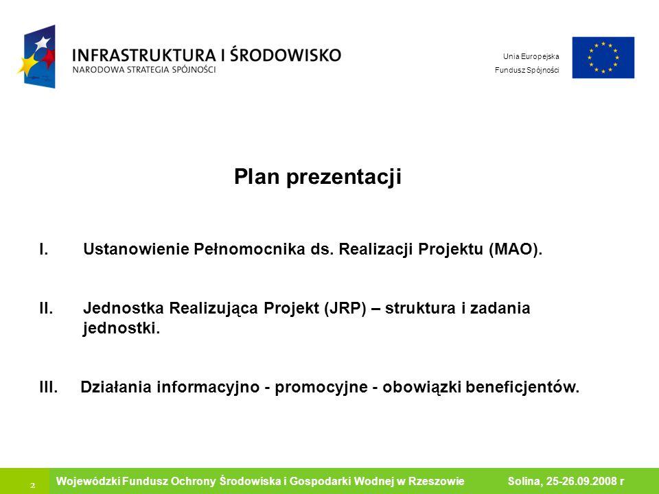 2 Ministerstwo Środowiska Wojewódzki Fundusz Ochrony Środowiska i Gospodarki Wodnej w Rzeszowie Solina, 25-26.09.2008 r Unia Europejska Fundusz Spójno