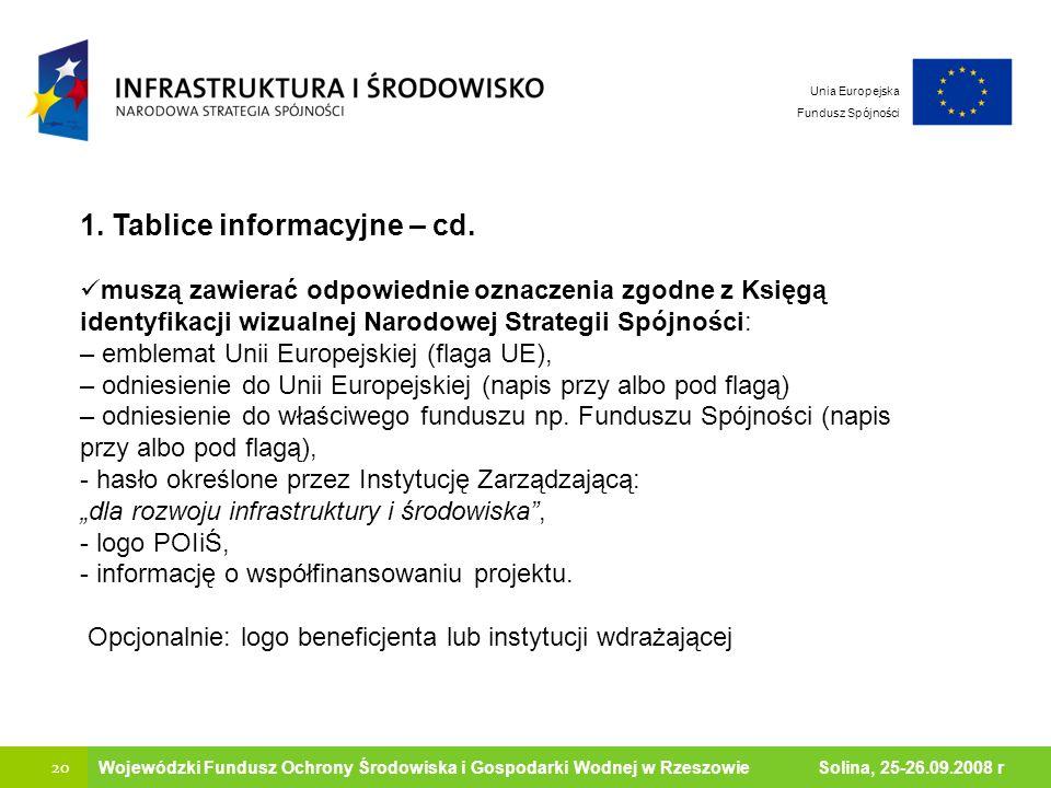 Ministerstwo Środowiska 20 Wojewódzki Fundusz Ochrony Środowiska i Gospodarki Wodnej w Rzeszowie Solina, 25-26.09.2008 r Unia Europejska Fundusz Spójn