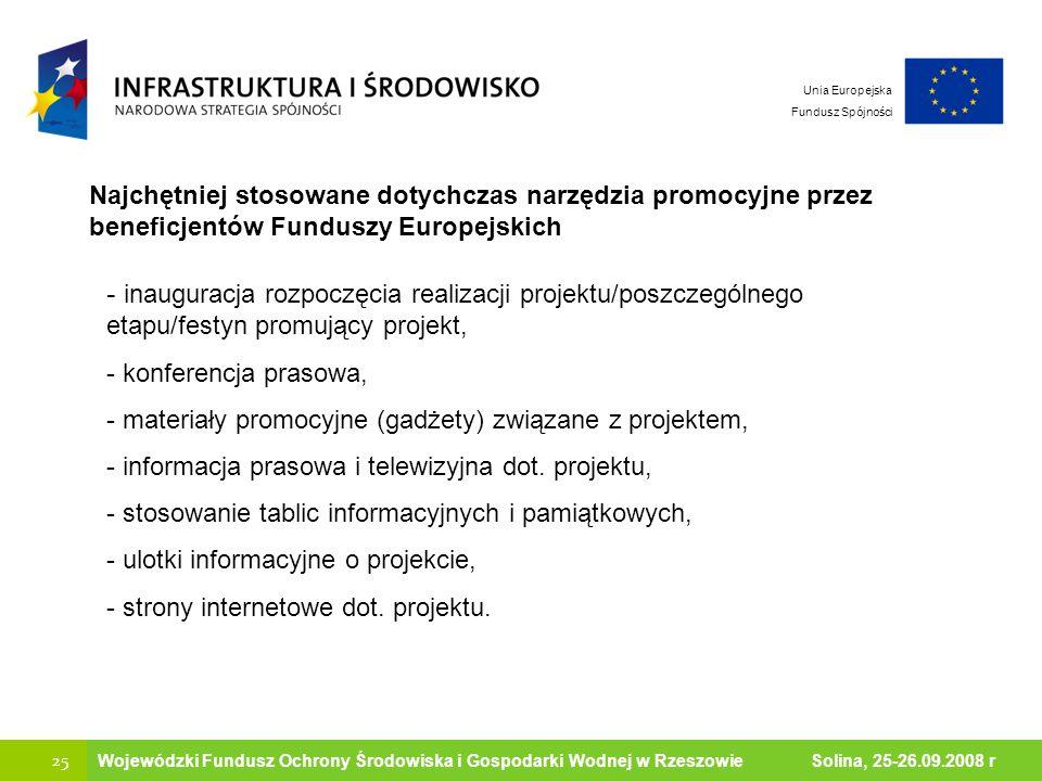 Ministerstwo Środowiska 25 Wojewódzki Fundusz Ochrony Środowiska i Gospodarki Wodnej w Rzeszowie Solina, 25-26.09.2008 r Najchętniej stosowane dotychc
