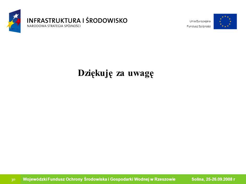 30 Ministerstwo Środowiska Wojewódzki Fundusz Ochrony Środowiska i Gospodarki Wodnej w Rzeszowie Solina, 25-26.09.2008 r Unia Europejska Fundusz Spójn