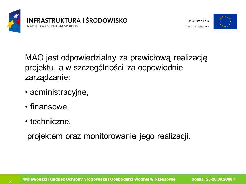 7 Ministerstwo Środowiska Wojewódzki Fundusz Ochrony Środowiska i Gospodarki Wodnej w Rzeszowie Solina, 25-26.09.2008 r Unia Europejska Fundusz Spójno