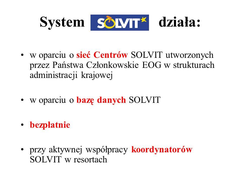 System działa: w oparciu o sieć Centrów SOLVIT utworzonych przez Państwa Członkowskie EOG w strukturach administracji krajowej w oparciu o bazę danych