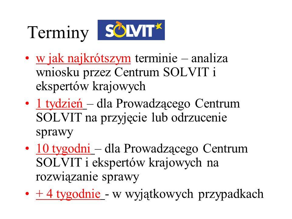 Terminy w jak najkrótszym terminie – analiza wniosku przez Centrum SOLVIT i ekspertów krajowych 1 tydzień – dla Prowadzącego Centrum SOLVIT na przyjęc