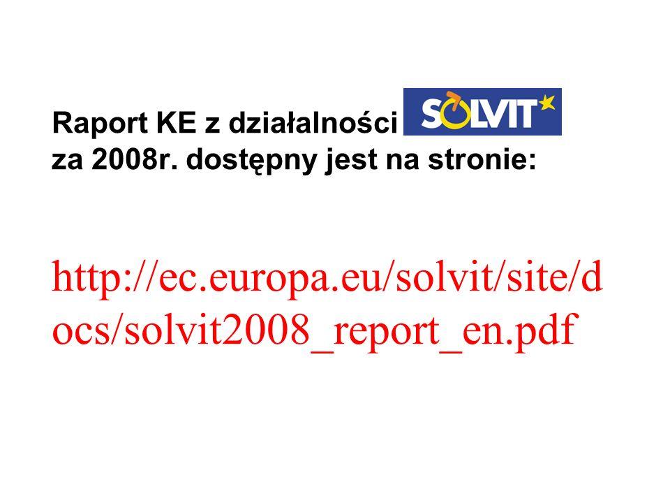 Raport KE z działalności za 2008r. dostępny jest na stronie: http://ec.europa.eu/solvit/site/d ocs/solvit2008_report_en.pdf