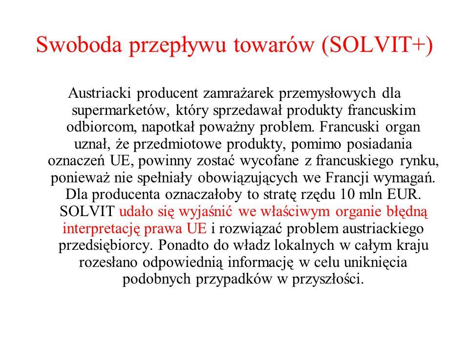 Swoboda przepływu towarów (SOLVIT+) Austriacki producent zamrażarek przemysłowych dla supermarketów, który sprzedawał produkty francuskim odbiorcom, n