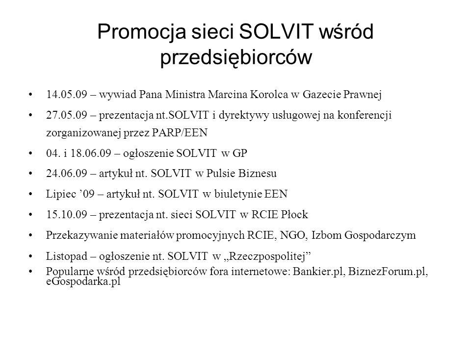 Promocja sieci SOLVIT wśród przedsiębiorców 14.05.09 – wywiad Pana Ministra Marcina Korolca w Gazecie Prawnej 27.05.09 – prezentacja nt.SOLVIT i dyrek