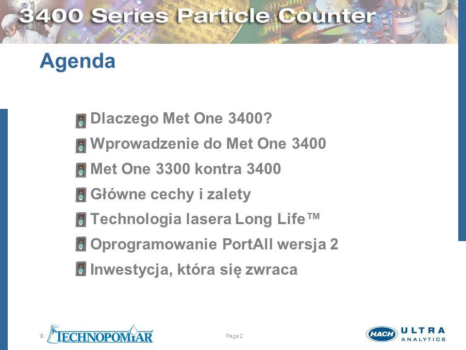 © 2005 Hach Ultra Analytics. All rights reserved.Page 2 Agenda Dlaczego Met One 3400? Wprowadzenie do Met One 3400 Met One 3300 kontra 3400 Główne cec