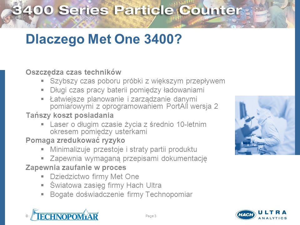 © 2005 Hach Ultra Analytics. All rights reserved.Page 3 Dlaczego Met One 3400? Oszczędza czas techników Szybszy czas poboru próbki z większym przepływ