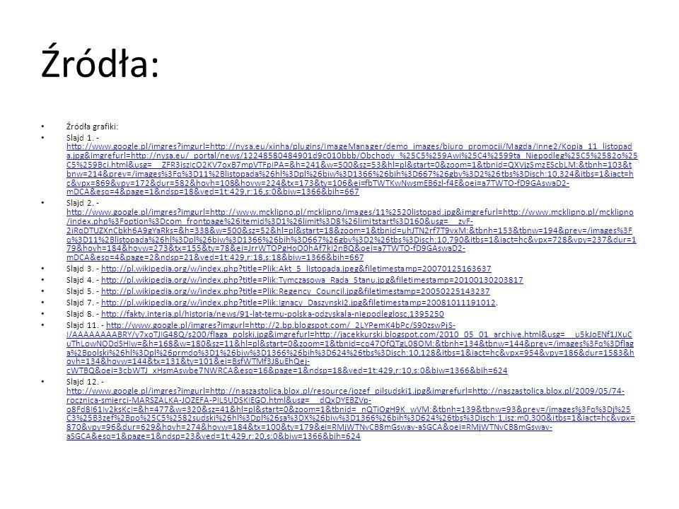 Źródła: Źródła grafiki: Slajd 1. - http://www.google.pl/imgres?imgurl=http://nysa.eu/xinha/plugins/ImageManager/demo_images/biuro_promocji/Magda/Inne2