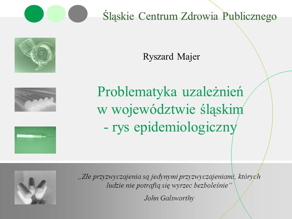 Problematyka uzależnień w województwie śląskim - rys epidemiologiczny Śląskie Centrum Zdrowia Publicznego Ryszard Majer Złe przyzwyczajenia są jedynym