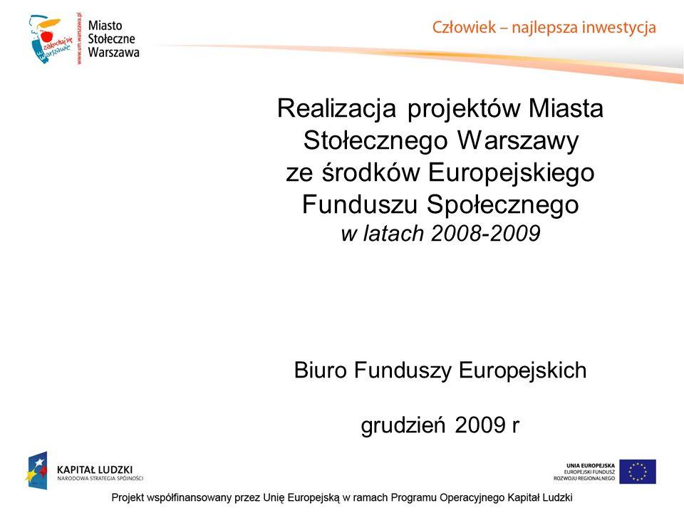 Realizacja projektów Miasta Stołecznego Warszawy ze środków Europejskiego Funduszu Społecznego w latach 2008-2009 Biuro Funduszy Europejskich grudzień 2009 r