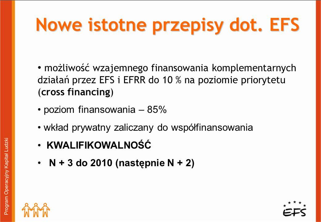 możliwość wzajemnego finansowania komplementarnych działań przez EFS i EFRR do 10 % na poziomie priorytetu (cross financing) poziom finansowania – 85% wkład prywatny zaliczany do współfinansowania KWALIFIKOWALNOŚĆ N + 3 do 2010 (następnie N + 2) Nowe istotne przepisy dot.