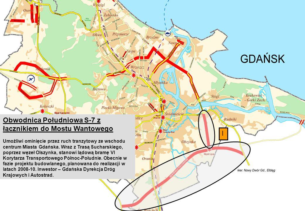 Obwodnica Południowa S-7 z łącznikiem do Mostu Wantowego Umożliwi ominięcie przez ruch tranzytowy ze wschodu centrum Miasta Gdańska.