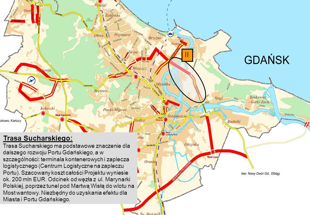 II Trasa Sucharskiego: Trasa Sucharskiego ma podstawowe znaczenie dla dalszego rozwoju Portu Gdańskiego, a w szczególności: terminala kontenerowych i zaplecza logistycznego (Centrum Logistyczne na zapleczu Portu).